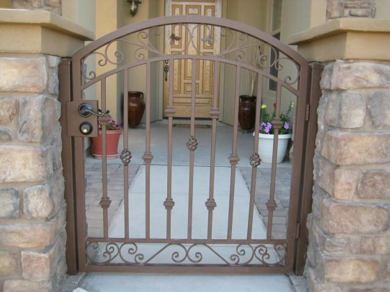 Iron gate installed in front of home